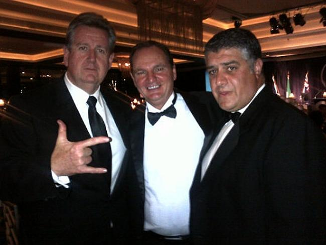 Too friendly? A photo of NSW Premier Barry O'Farrell with Nick Di Girolamo (right) and th