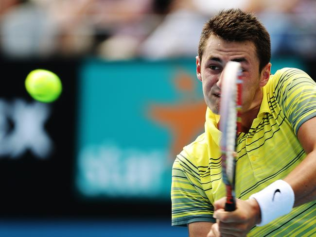 Bernard Tomic's confidence is certainly on the rise after his 6-4 6-4 success against gifted Kazakh Andrey Golubev. Picture: Brett Costello