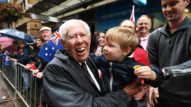 Tony Adams, 90, hugs his great-grandson Joshua Adams. Tony was a bomber command operating 30 missions in the Lancaster bombers during WWII in England. Picture: Toby Zerna