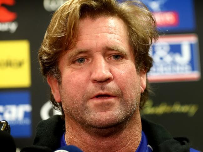 Canterbury Bulldogs Des Hasler after the announcement he will continue to coach the team untill 2019 . Picture : Gregg Porteous