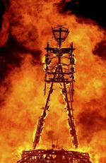 "FILE - In this Aug. 31, 2013, file photo, the ""Man"" burns on the Black Rock Desert at Burning Man near Gerlach, Nevada. Picture: Andy Barron/Reno Gazette-Journal via AP"