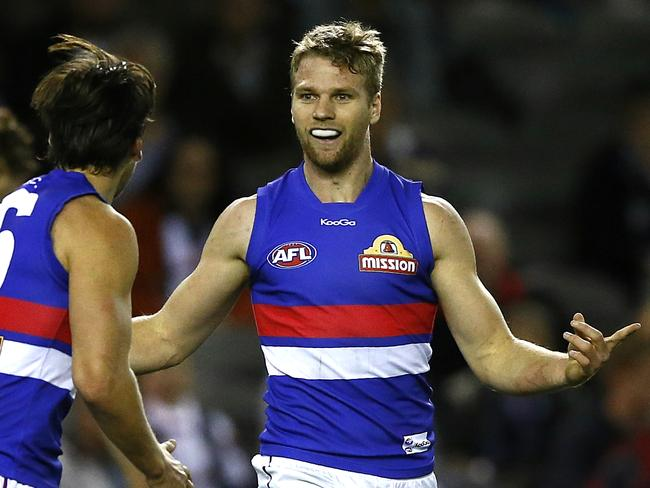 Western Bulldogs forward Jake Stringer is the most recent Rising Star nomination after booting four goals against St Kilda. Picture: Wayne Ludbey