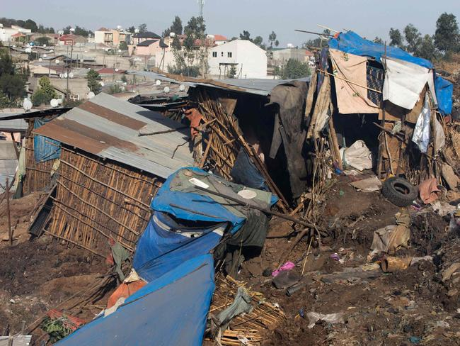 The dwellings of squatters were demolished in the horrific landslide. Picture: AP Photo/Elias Meseret