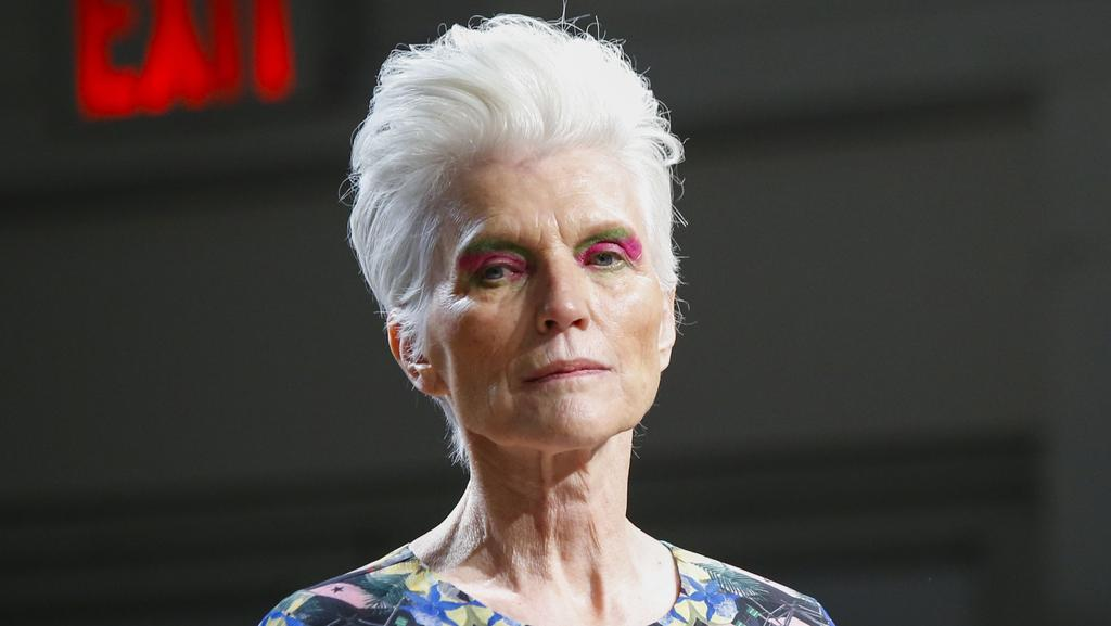 Maye Musk walks the runway for the Concept Korea show during New York Fashion Week. Picture: AFP