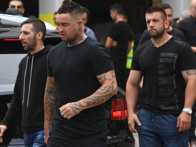 Bikies leave after the funeral of Mahmoud 'Mick' Hawi at the Fatima Al-Zahra Masjid mosque in Arncliffe. Picture: AAP
