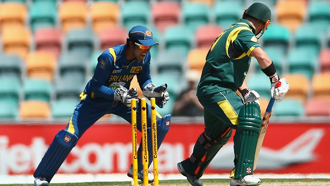 David Warner looks back as he is bowled by Tillakaratne Dilshan. Picture: Robert Cianflone