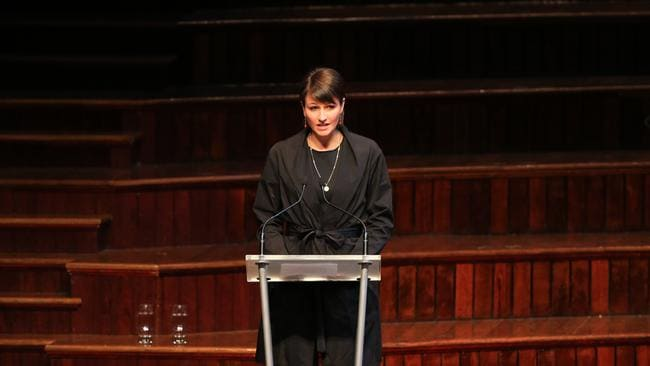 Daughter Harriet Wran gives a speech at the funeral. Picture: Adam Taylor