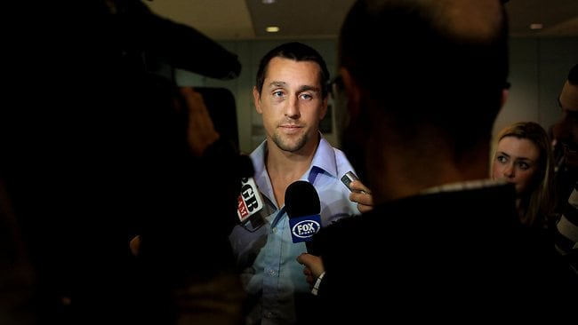 Mitchell Pearce arrives at Sydney airport after State of Origin II. Picture: Mark Evans