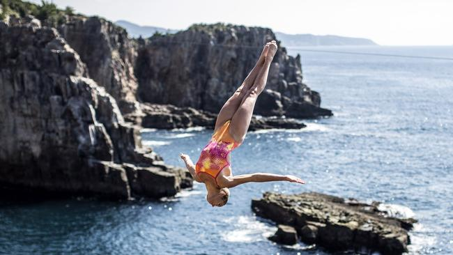 Helena Merten of Australia dives from the 28m platform during the first competition day of thethe Red Bull Cliff Diving World Series in Shirahama, Japan. Picture: Getty