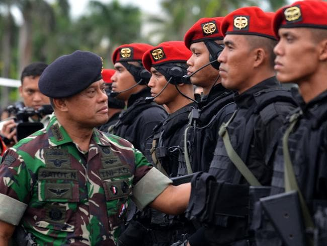 Indonesian military chief, General Gatot Nurmantyo (left), inspects his special troops during a ceremony in Jakarta. Picture: NurPhoto via Getty Images