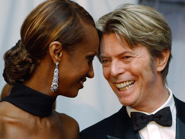 Loving couple ... British singer David Bowie and Somalian supermodel Iman were married for 23 years. Picture: AP Photo/Suzanne Plunkett
