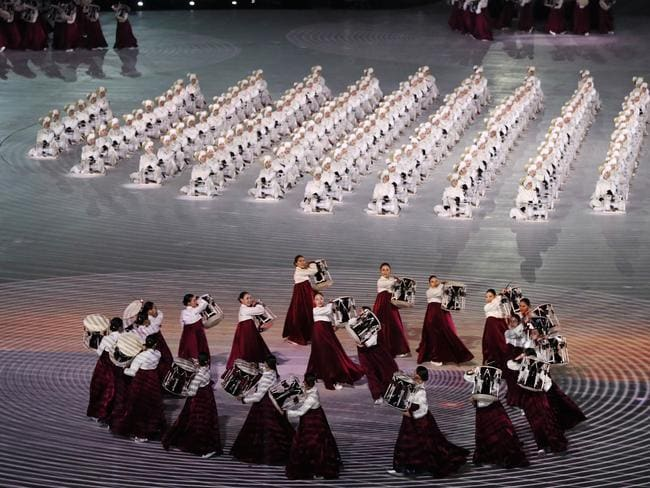 Dancers with drums create beautiful formations during the Opening Ceremony. Picture: Jamie Squire/Getty Images