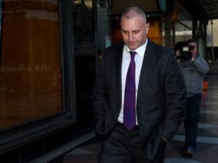 Adrian Gard leaves the Downing Centre Court, in Sydney, Wednesday, August 16, 2017. Gard has pleaded not guilty to making up claims about finding a bug secreted in a chair in the All Blacks' meeting room in August last year, at the Intercontinental Hotel in Double Bay. (AAP Image/Dan Himbrechts) NO ARCHIVING