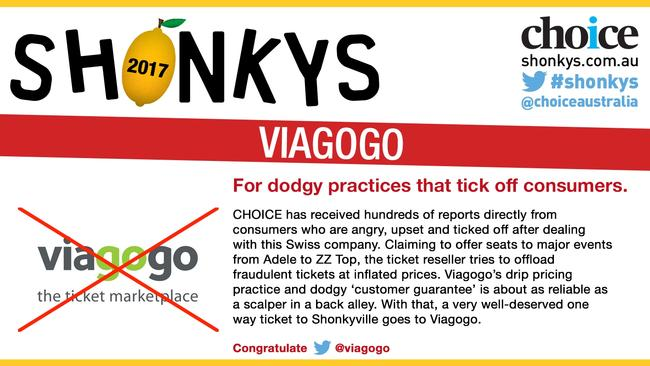 Viagogo was named and shamed for what Choice said were dodgy practices. Picture: Choice
