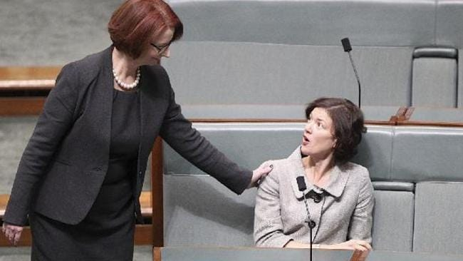 Former prime minister Julia Gillard and Labor MP Kirsten Livermore.