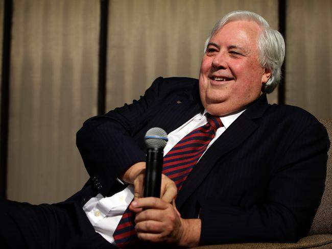 Clive Palmer addresses business people in Sydney at a breakfast hosted by the NSW Business Chamber at the Shangri-La hotel. Picture: Stephen Cooper.