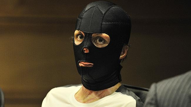 Confined to wearing a mask during recovery, Turia appears at the West Australian Parliamentary Inquiry into Kimberley Ultramarathon Burns Victims in April, 2012.