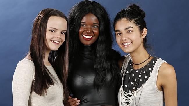 The three finalists from Australia's Next Top Model - Melissa Juratowitch, Duckie Thot, Shanali Martin all from Melbourne. Photo David Caird
