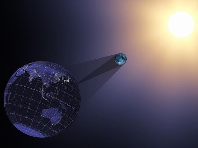 "This NASA handout visualization animation still image released June 21, 2017 shows the Earth, moon, and sun at 17:05:40 UTC during the eclipse. In the animation from which this still was taken, the Earth, moon, sun, and shadow cones are viewed through a telescopic lens on a virtual camera located far behind the Earth. Long focal lengths like the one used here appear to compress the distance between near and far objects. Despite appearances, the geometry of the scene is correct. The moon's umbra cone is roughly 30 Earth diameters long, barely enough to reach the Earth, while the sun is almost 400 times farther away.On August 21, 2017, the Earth will cross the shadow of the moon, creating a total solar eclipse. Eclipses happen about every six months, but this one is special. For the first time in almost 40 years, the path of the moon's shadow passes through the continental United States. / AFP PHOTO / NASA / Handout / RESTRICTED TO EDITORIAL USE - MANDATORY CREDIT ""AFP PHOTO / NASA/HANDOUT"" - NO MARKETING NO ADVERTISING CAMPAIGNS - DISTRIBUTED AS A SERVICE TO CLIENTS"