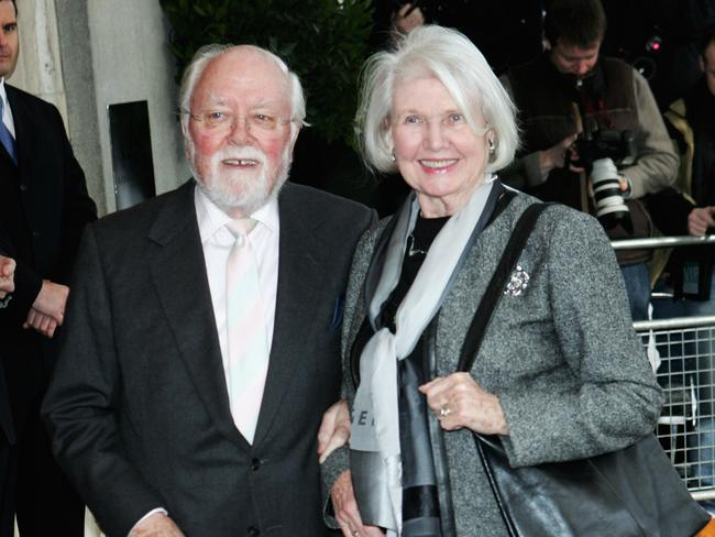 Richard Attenborough and wife Sheila Sim arrive at the South Bank Show Awards in 2006 in London.