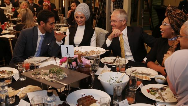 Waleed Aly and his wife Susan Carland, Malcolm Turnbull and Yassmin Abdel-Magied at an Iftar dinner celebrating Ramadan at Kirribilli House last year. Photo: Andrew Meares