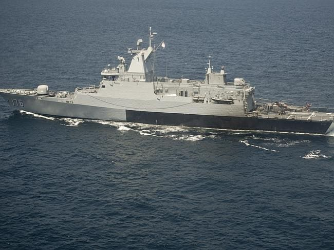 A Royal Malaysian Navy ship, the KD Selangor, during the search operation.