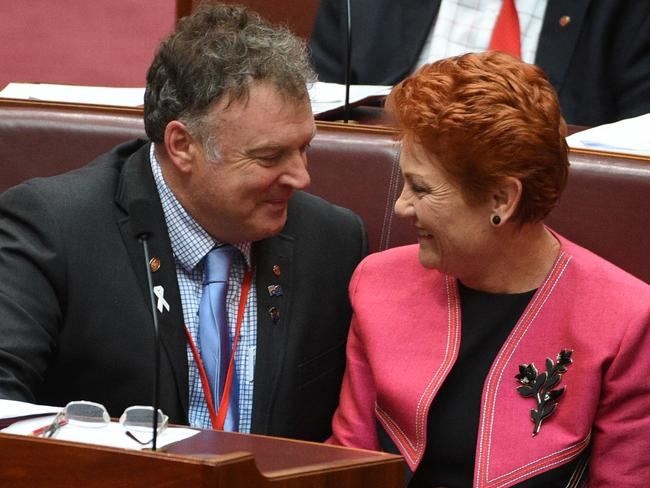 Culleton and Pauline Hanson before things fell apart for the senator. Picture: Mick Tsikas