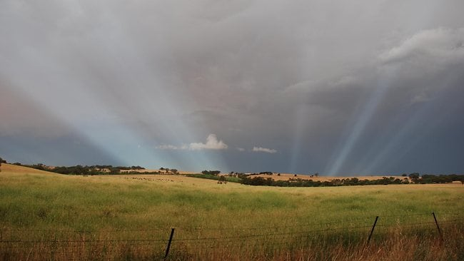 The sky after a storm and bushfires near Sevenhill. Picture: Katie Sutherland