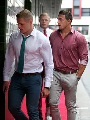George, Tom and Sam Burgess arrive at the Charlotte Dawson memorial. Picture: Richard Dobson