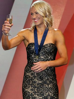AFLW Crow Erin Phillips with her best and fairest medal. Picture: Ian Currie