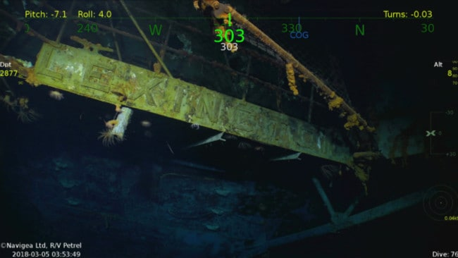 The nameplate of the USS Lexington remains legible 76 years later, and 3km beneath the surface. Picture: Vulcan