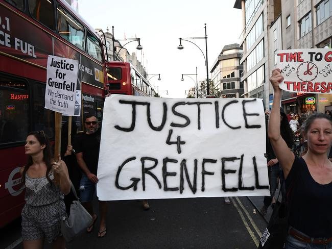 Protesters march down Oxford Stret during a rally calling for justice for those affected by the Grenfell Tower fire. Picture: Getty