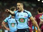 NSW fullback Jarryd Hayne shouts instructions during State of Origin III.