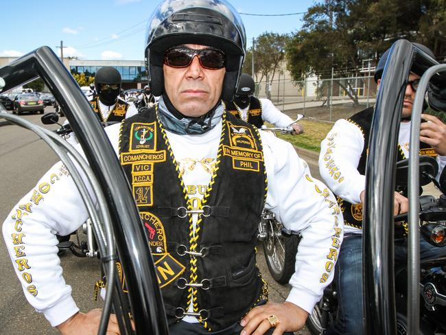 Former Comanchero national president Jay Malkoun, pictured during the club's annual ride in 2012, is believed to be in exile in Russia. Picture: NewsCorp