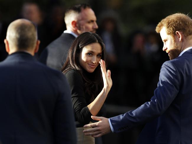 Bye for now. We'll be seeing a lot more of Prince Harry's glamorous fiance Meghan Markle before their wedding inn May. Picture: AFP/Matt Dunham