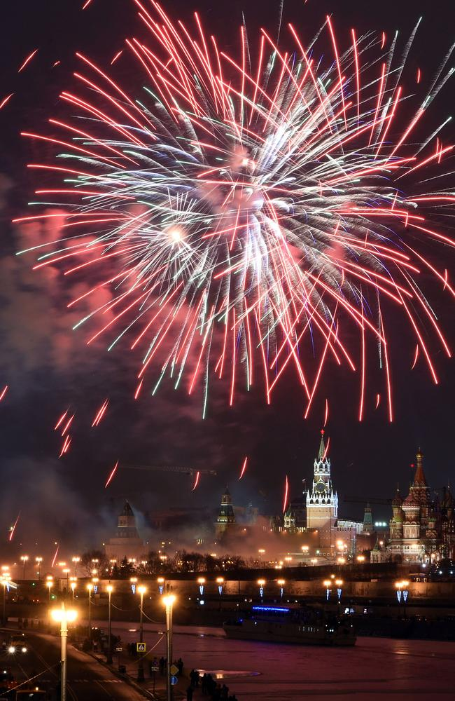 Fireworks explode ... over Moscow's Kremlin during New Year celebrations in Moscow. Picture: AFP