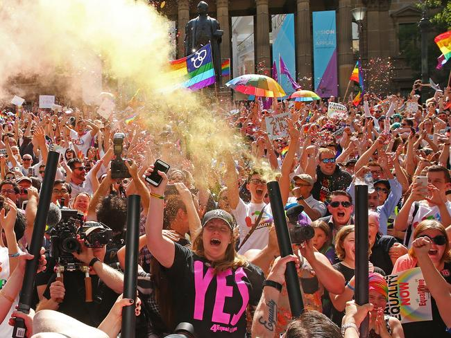 Yes celebrations in Melbourne. Picture: Scott Barbour/Getty Images