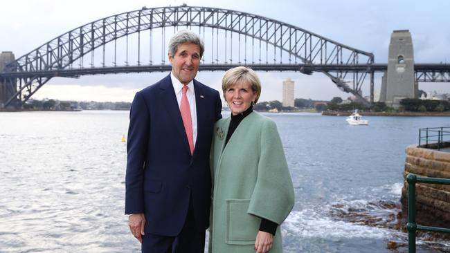 """America has no better friend than Australia"" ... US Secretary of State John Kerry with Foreign Minister Julie Bishop. Picture: Kym Smith"