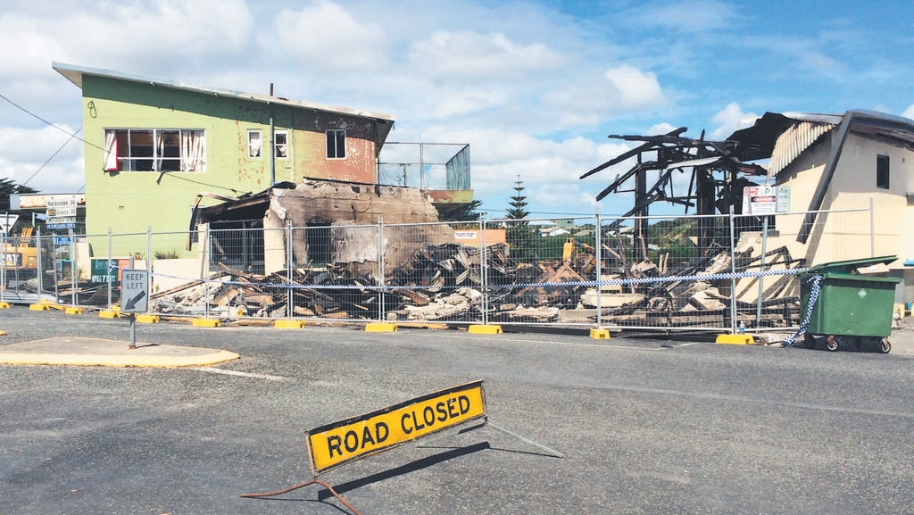 The aftermath of the pharmacy fire at Currie, King Island, in January 2015. Picture: SUPPLIED