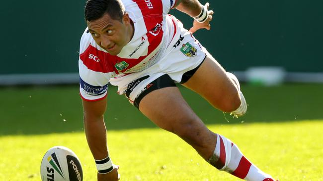 Benji Marshall touches down for a rare try this season. Pic: Gregg Porteous