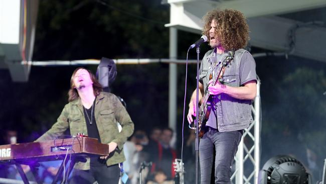 Wolfmother perform before the World Series Rugby match at nib Stadium in Perth.