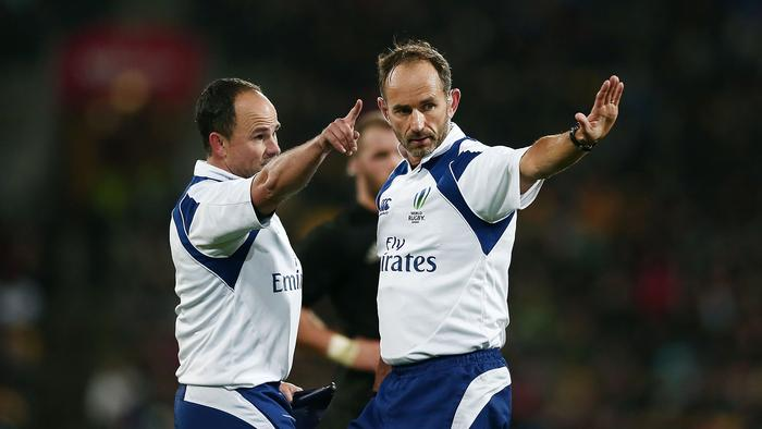 WELLINGTON, NEW ZEALAND - AUGUST 27: Referees Romain Poite and Jaco Peyper make a call during the Bledisloe Cup Rugby Championship match between the New Zealand All Blacks and the Australia Wallabies at Westpac Stadium on August 27, 2016 in Wellington, New Zealand. (Photo by Anthony Au-Yeung/Getty Images)