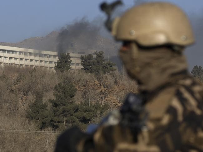 Black smoke rises from the Intercontinental Hotel after an attack in Kabul, Afghanistan. Picture: AP