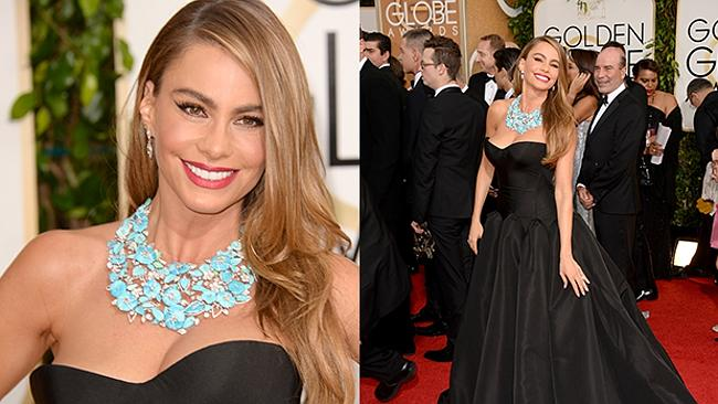 Modern Family's Sofia Vergara wears a stunning black Zac Posen gown at the Golden Globes. Picture: Getty