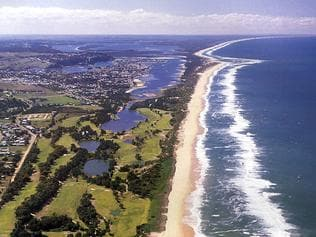 Aerial view of lakes entrance and the 90 Mile Beach in East Gippsland, Victoria. ninety/Victoria