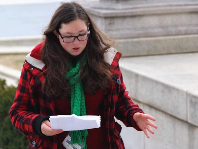 Phoebe delivers a speech as part of the Youth Leadership Program in the US on the steps of the Lincoln Memorial in Washington DC — the same steps where Dr. Martin Luther King, Jr. delivered his 'I Have a Dream' speech. Picture: Supplied