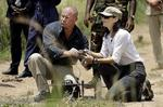 <p>Danish Crown Princess Mary, right, participates in a demining exercise with Mark Livingstone, left, of the Danish Demining Group, near Gulu, northern Uganda. AP Photo</p>