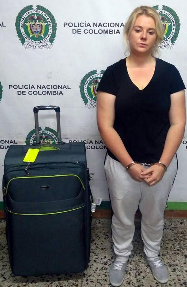 A handout photo made available by the press office of the Colombian Anti-narcotics Police, on 01 May 2017 shows Australian citizen Cassandra Sainsbury during her detention with 5.8 kilos of cocaine at the International Airport the Dorado, in Bogota, Colombia, on 11 April 2017. Picture: EPA/Col Anti-narcotics Police