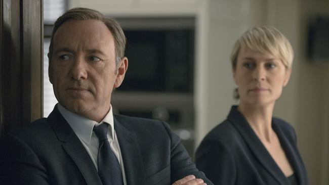 On Netflix ... Kevin Spacey and Robin Wright in House of Cards.