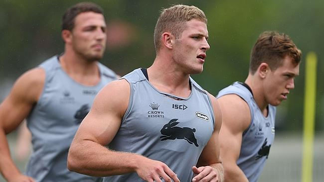 Sam Burgess, George Burgess and Cameron McInnes during a South Sydney Rabbitohs training session.